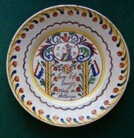 Antique Dutch Delft Plate Royal Souvenir Plate William V Prince of Orange